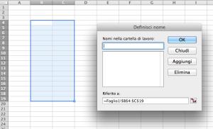 Definire nome celle Excel